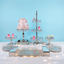 Cupcake-Plate Electroplate-Mirror Display Crystal 3pcs-15pcs Gold Silver Metal