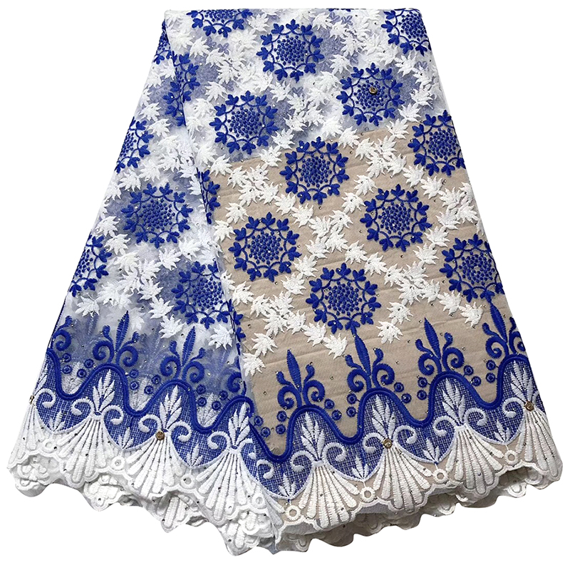 Latest Blue White African Lace Fabric For Wedding Dress Embroidered Nigerian Lace Swiss Voile Lace In Switzerland With Diamond