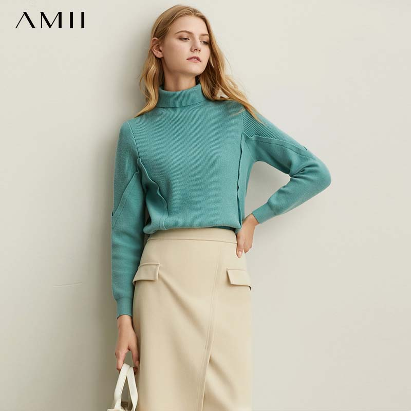 Amii Minimal Foundation Fashion Western Style Sweater Women Fall 2019 New Loose High Neck Warm Joker Knitted Jacket 11930249