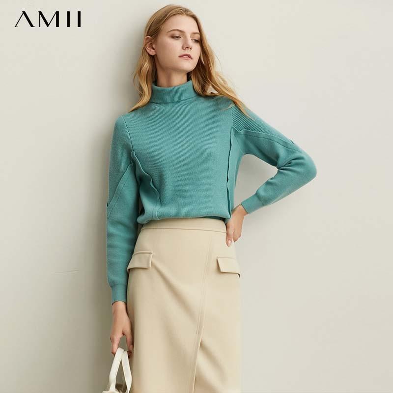 Amii Minimal Foundation Fashion Western Style Sweater Women Fall 2019 New Loose High Neck Warm Joker Knitted Jacket 11930249