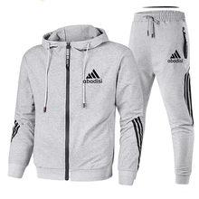 2020 marca de moda masculina casual terno moletom com capuz e calças de duas peças com capuz com zíper moletom esportivo masculino terno