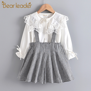 Bear Leader Girls Dress 2020 New Spring England Style Lace Long Sleeve Shirt + Plaid Strap Dress For Princesss 3-7 Years eyelash lace detail trumpet sleeve plaid dress