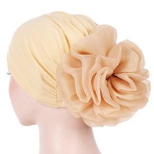 Image 4 - Helisopus Women New Muslim Pure Color Turban Big Ladiess Headband Ladies Elastic Headwear Covers Hair Accessories