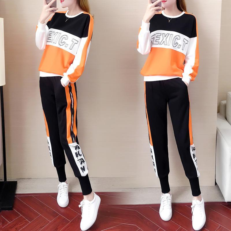 Sports WOMEN'S Suit Autumn 2019 New Style Korean-style Fashion Brand Loose Casual Western Style Running Clothing Two-Piece Set F