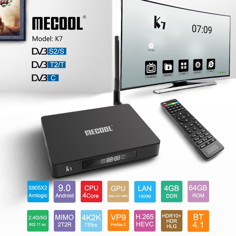 Mecool K7 TV Box S905X2 VP9 DVB-S2/T2/C 4GB DDR4 RAM 64GB ROM 1000M LAN 5G WIFI Bluetooth Android 9.0 4K H.265 Signal Receiver