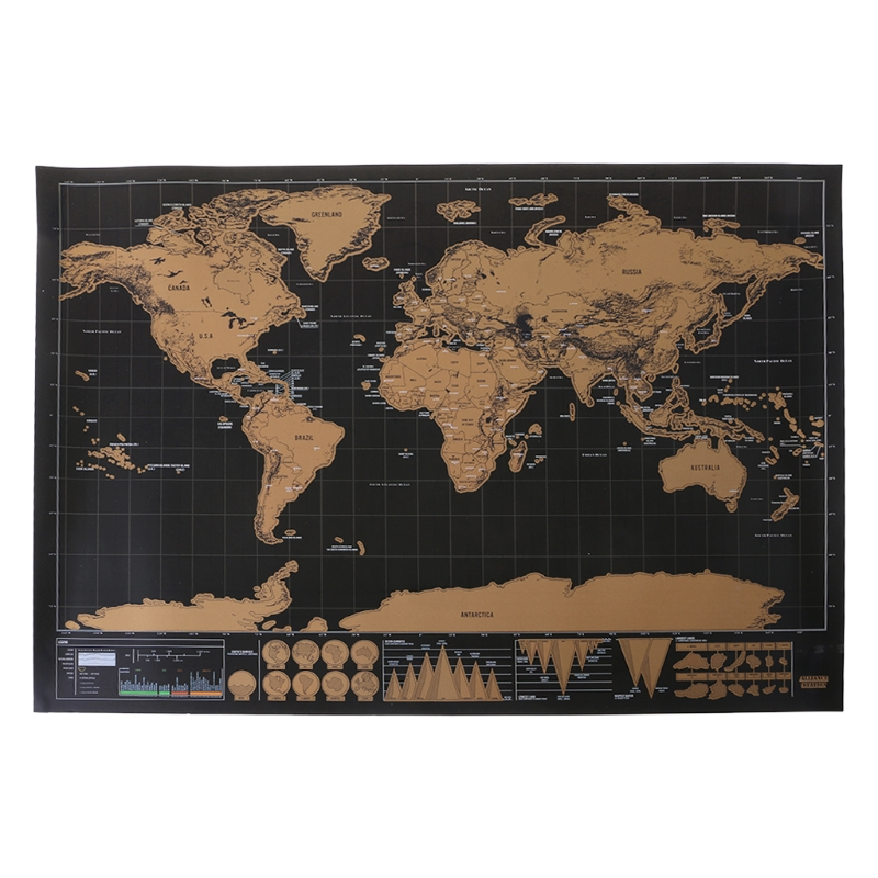 1 Pc Black Gold Scratch World Map Deluxe Scratch Off Journal World Map Personalized Travel Poster Custom Decor Hot