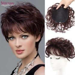 Парик HOUYAN, женские волосы, увеличивающие невидимые и не оставляющие следов человеческие волосы, покрывающие белые волосы, Короткие вьющиес...