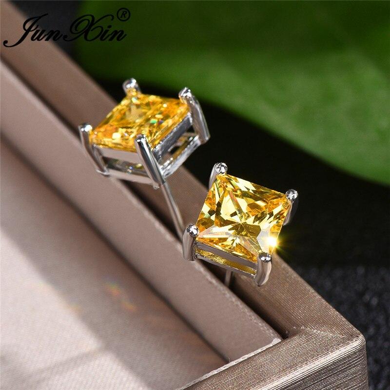 Vintage Yellow Crystal Princess Square Stud Earrings Geometric Zircon Stone Wedding Earrings For Women Stacking Ear Studs