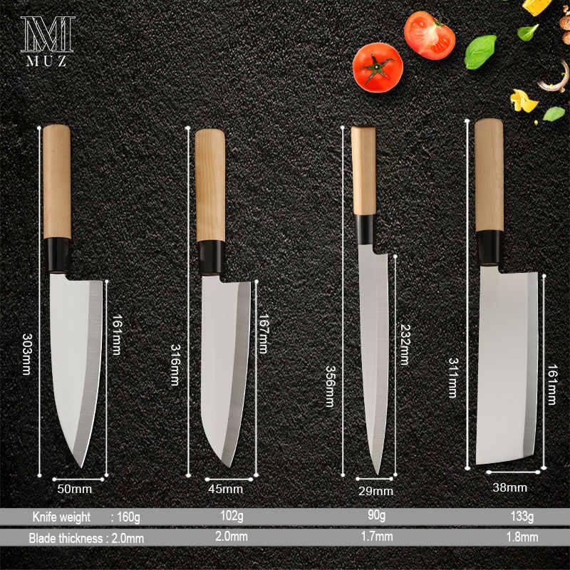4 sztuk Sushi nóż japoński zestaw ze stali nierdzewnej pojedyncze skos ostrze fileting drewna uchwyt dla szefa kuchni ryby Nakiri Deba łosoś Sashimi