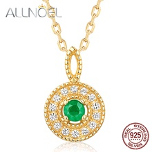 ALLNOEL 925 Sterling Silver Women Necklace 100% Natural Pink Tourmaline Emeralds 2.5mm Genuine Golden Engagement High Jewelry