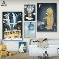 Постер на холсте для детской комнаты с изображением астронавта, воздушного шара, космического корабля, медведя, слона, жирафа, живопись, Мул...