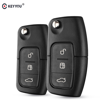 KEYYOU 10X 3 Buttons Flip Folding Uncut Car Blank Key Shell Remote Fob Cover for Ford Focus Fiesta C-Max S-Max Ka Mondeo Galaxy