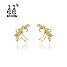 DREJEW Butterfly Geometric Statement Earrings 2019 925 Gold Silver Needle Crystal Stud for Women Wedding Jewelry HE8611