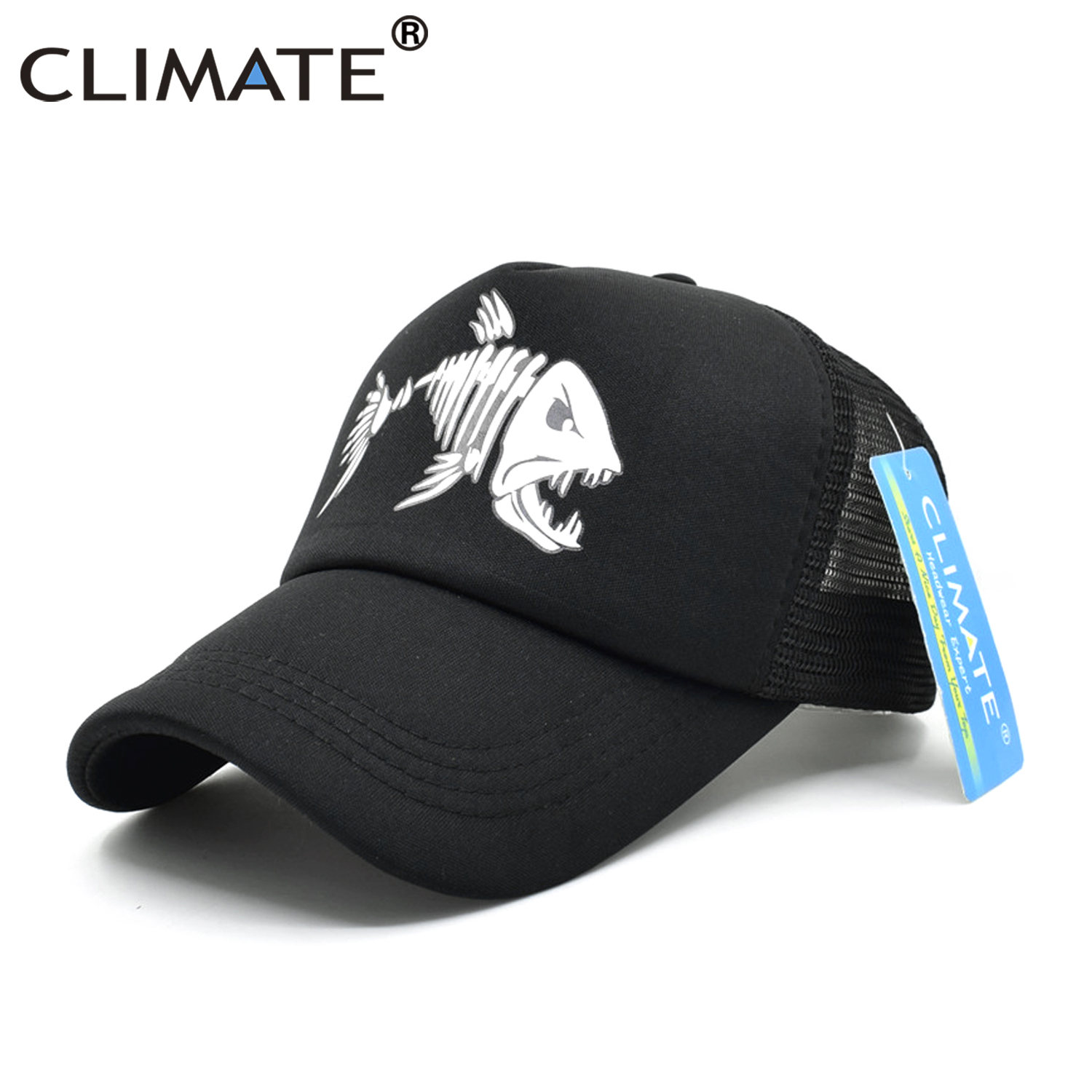 CLIMATE Fishbone Trucker Cap Men Fishing Skeleton Fish Bone Cap HipHop Baseball Caps Summer Fisher Man Mesh Caps Hat for Men