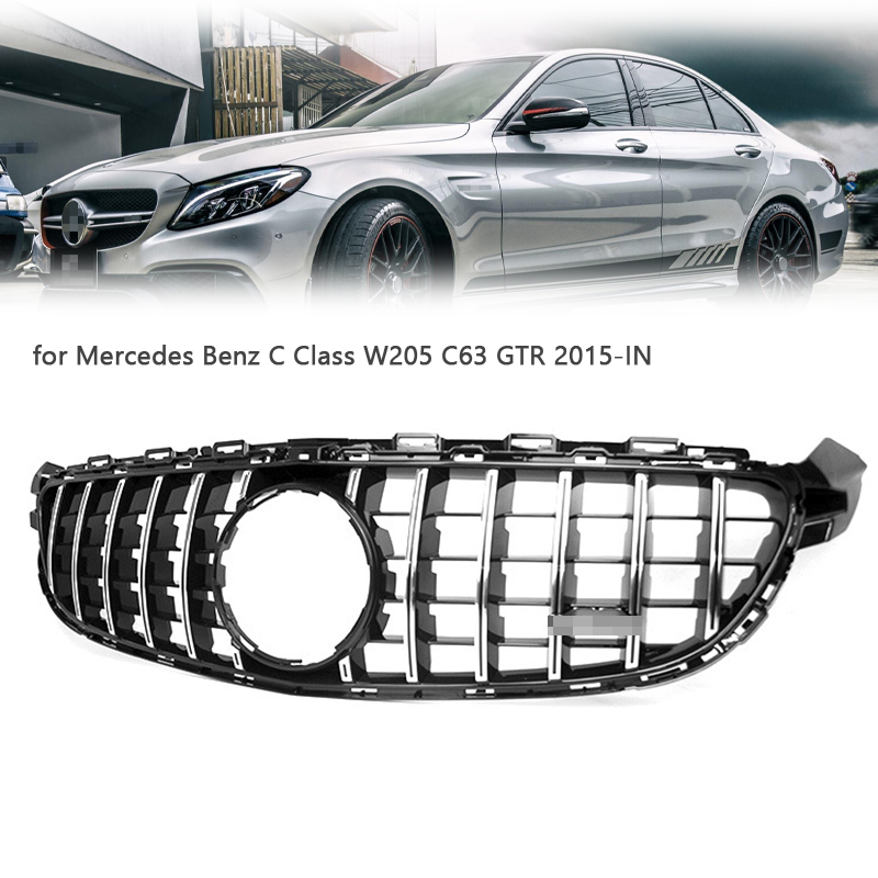 Car Front Grill ABS Replacement Racing Grills for Mercedes <font><b>Benz</b></font> C Class <font><b>W205</b></font> C63 GTR 2015-IN Car Grill Mesh Auto <font><b>Bumper</b></font> Grills image