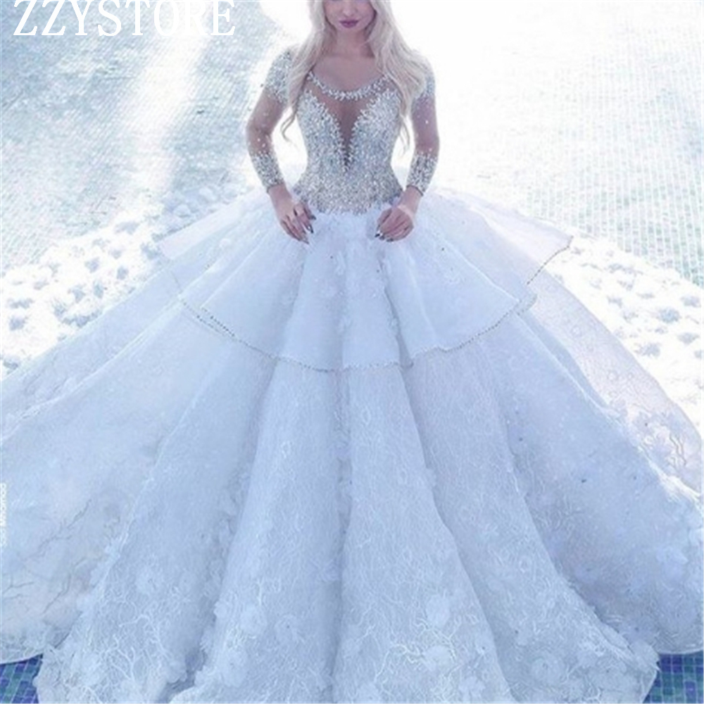 Gorgeous White Sequins Beading Illusion Bridal Gown 3D Flowers Beading Sleeves Ball Gown ChapelTrain Lace Wedding Dress Vestidos