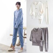 Homewear Sweatshirt Pajamas-Set Velvet Flannel Women Warm Winter Hooded Soft