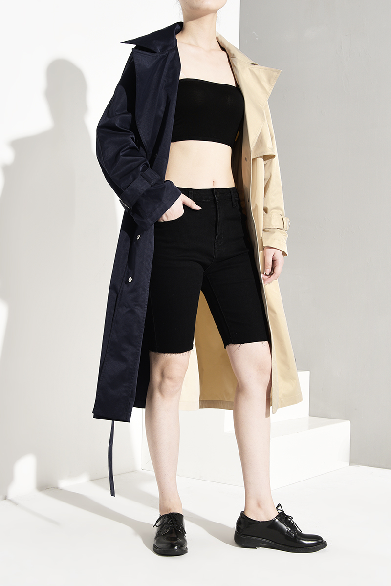 Color Blocking Windbreaker Long Trench