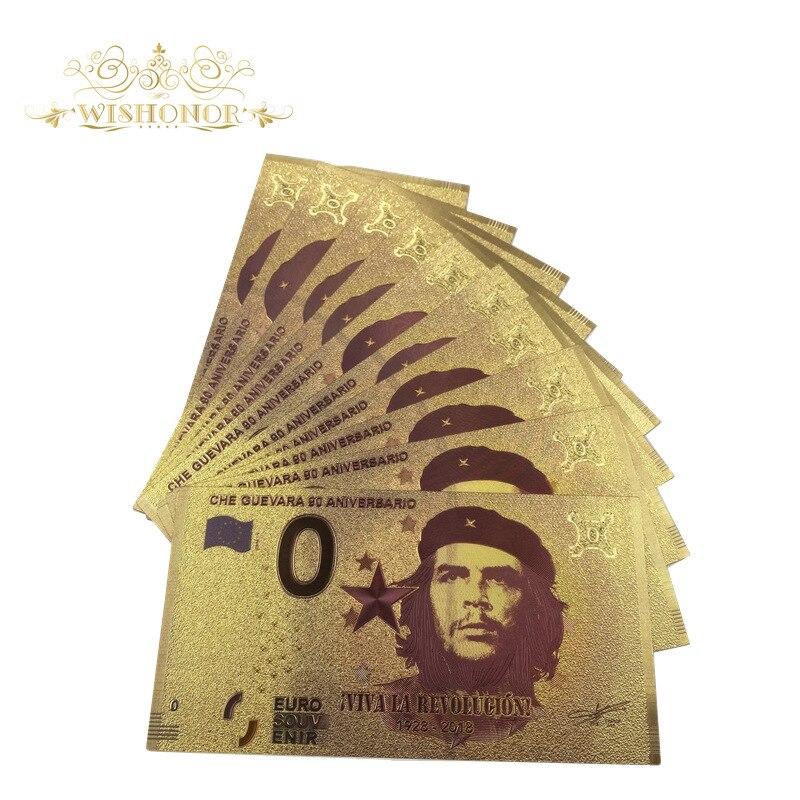 1928-2018banknote s che guevara 90 aniversario euro souv enir 0 euro folha de ouro para negócios & presentes de natal