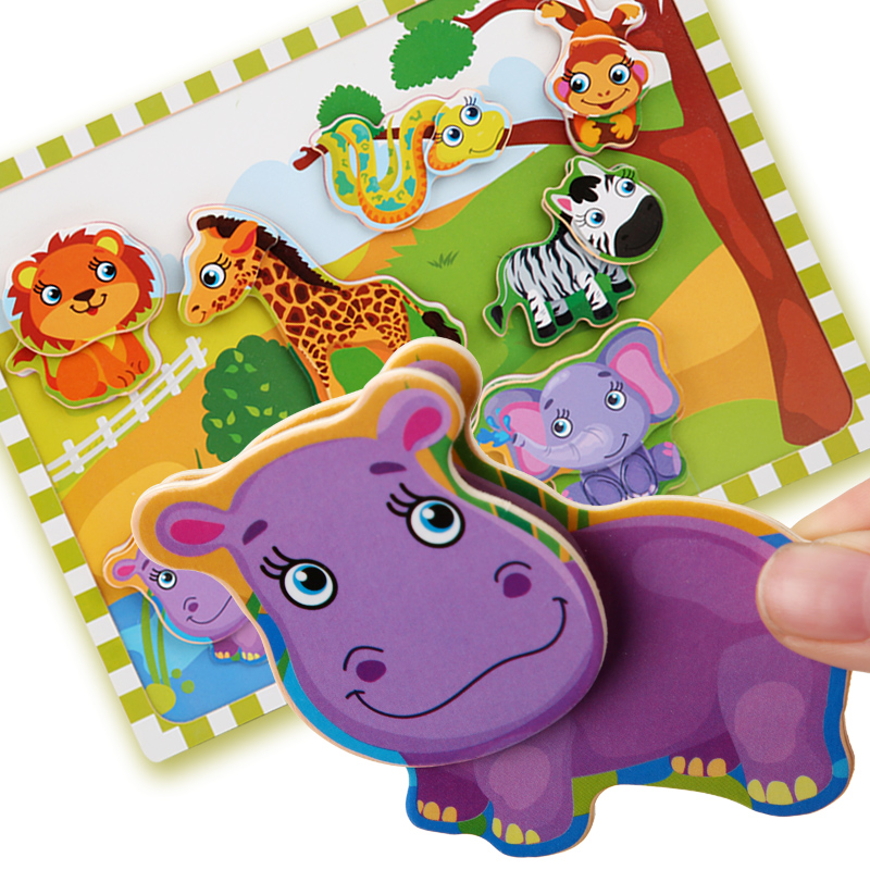 Wooden Toy Personality Velcro Puzzle Educational Puzzle Early Learning Knowledge Intelligence Cartoon Animal Puzzle Wooden Toy