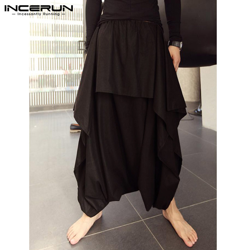 INCERUN Fashion Men Harem Pants Joggers Solid Loose Drop Crotch Pants Streetwear Elastic Waist Skirts Pants Trousers Men 2020