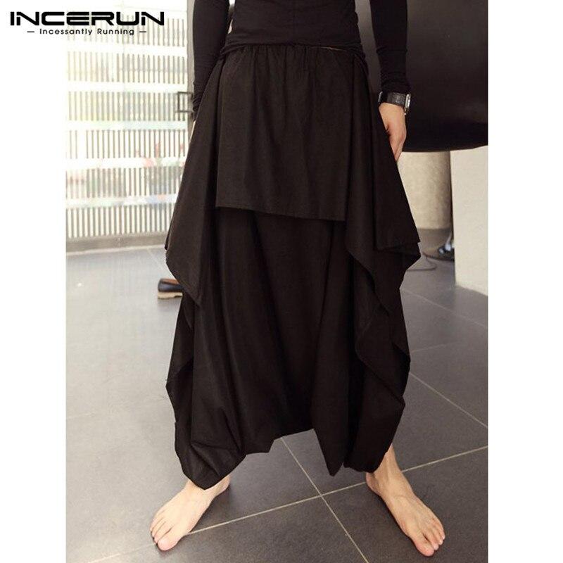 INCERUN Fashion Men Harem Pants Joggers Solid Loose Drop Crotch Pants Streetwear Elastic Waist Skirts Pants Trousers Men 2020