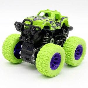 Image 3 - الأزرق طفل الجمود سيارة لعب صغيرة شاحنة الأطفال التراجع لعب المركبات الاحتكاك بالطاقة نموذج عجلات كبيرة