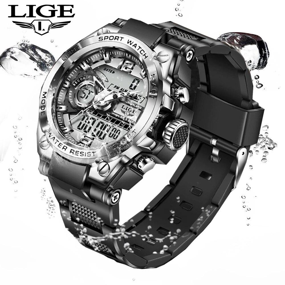 LIGE Brand Men Digital Watch Military Sport Watches Fashion 50ATM Waterproof Electronic Wristwatch Mens Reloj Inteligente Hombre