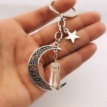 Lua crescente chaveiro com cristal de quartzo branco natural, lua e estrelas, goth gargantilha chaveiro, presente de jóias witchy