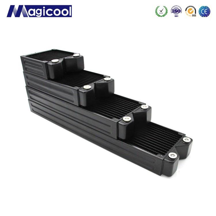 Радиатор для компьютера Magicool G2, черный, 45 мм, толщина 120 мм, 240 мм, 360 мм, 480 мм, медный, G1/4