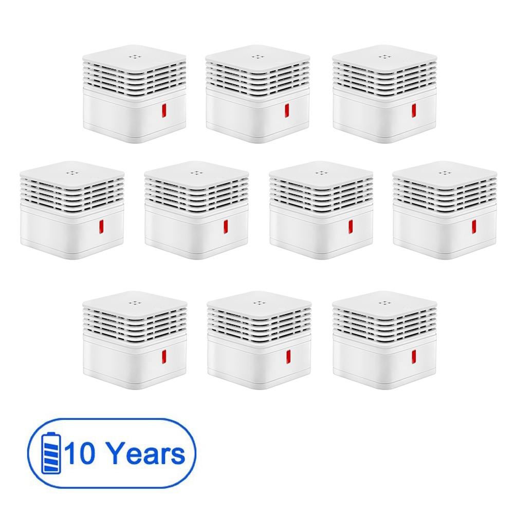 CPVan 10pcs Smoke Detector Smoke Sensor 10 Years Fire Detector 85dB Loud Alarm Smoke EN14604 CE Certified Photoelectric Sensor