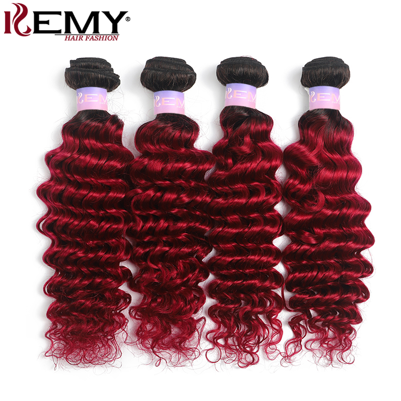 1B 99J/Burgundy Red Deep Wave Human Hair Bundles Brazilian Human Hair Weave Bundles Non-Remy Hair Extension 3/4 PCS KEMY HAIR