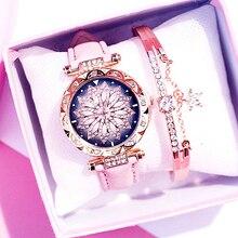 Hot Sale Women Watches Bracelet Set Ladies Bracelet Flower Watch Casual Leather Quartz Wristwatches Clock Relogio Feminino