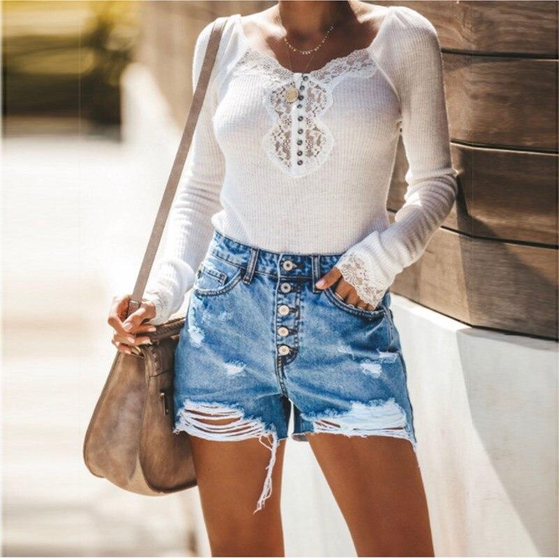 2019 Women Summer Blue High Waist Pockets Shorts Hole Sexy Tassel Ripped Denim Shorts Skinny Button Hollow Out Shorts