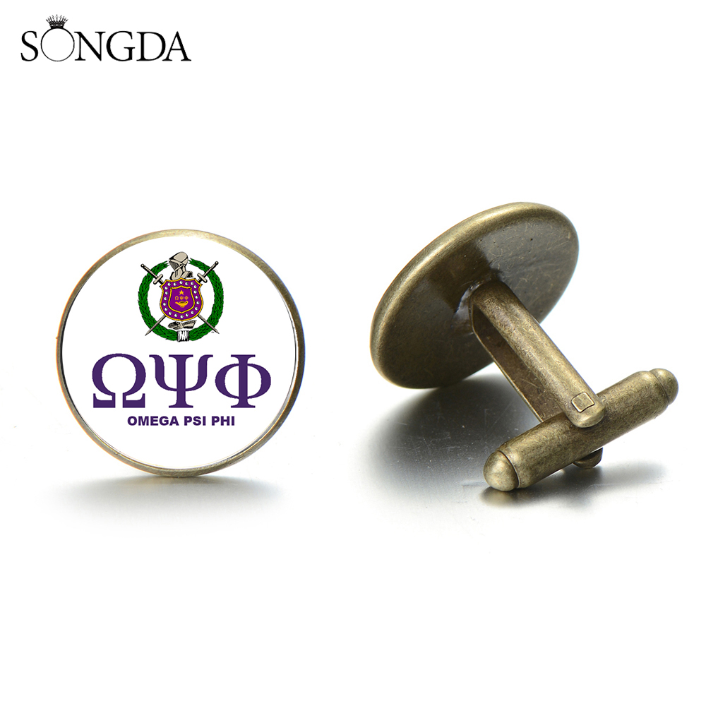 SONGDA Retro OMEGA PSI PHI Fraternity Cufflinks 1911 Greek Brotherhood Logo Glass Round Cuff Links Classic Mens Sleeve Buttons