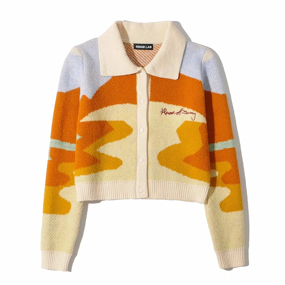 Letter Embroidery Harajuku Knitted Single Breasted Cropped Cardigan Women Autumn Long Sleeve Turn Down Collar Sweater Coat 2020