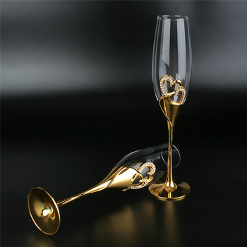 2Pcs/Set Crystal  Gold Metal Stand Flutes Wine Glasses  2
