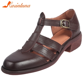 Karinluna New Arrivals Genuine Cow Leather Concise Sandals Woman Shoes Buckle Strap Chunky Heels Comfortable Shoes Women