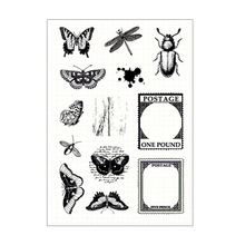 CLEAR STAMPS Insect Vintage Butterfly Transparent Stamp Seal For DIY Scrapbooking Card Making Album Decorative Silicon Craft 1pc tpr silicon transparent clear stamp feather flowers butterfly stamp diy scrapbook card making craft album decorating stamp