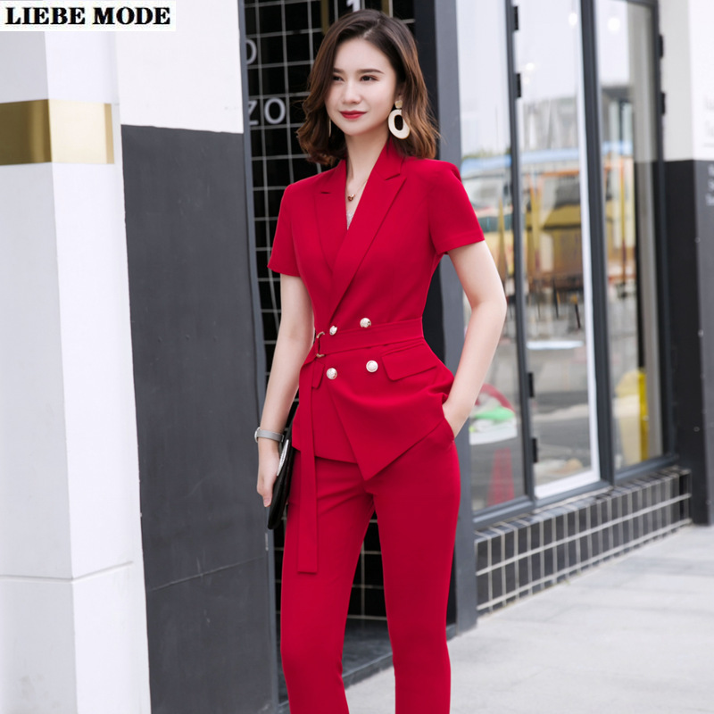 Woman Summer Trouser Suit Black Red Short Sleeve Double Breasted Sashes Blazer and Pant Formal Work Pants Suits