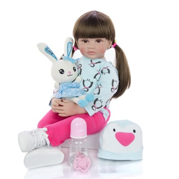 KEIUMI 24 Inch Reborn Baby Girl Doll 60 cm Soft Vinyl Cloth Body Princess Doll Lifelike Boneca bebes Reborn Kids Best Playmate