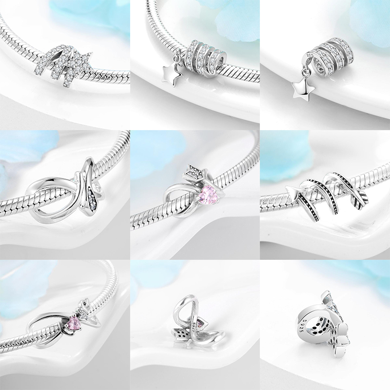 Fit Original Charm European Charms Spiral shape 925 Sterling Silver beads For jewelry Bracelet Bangle making