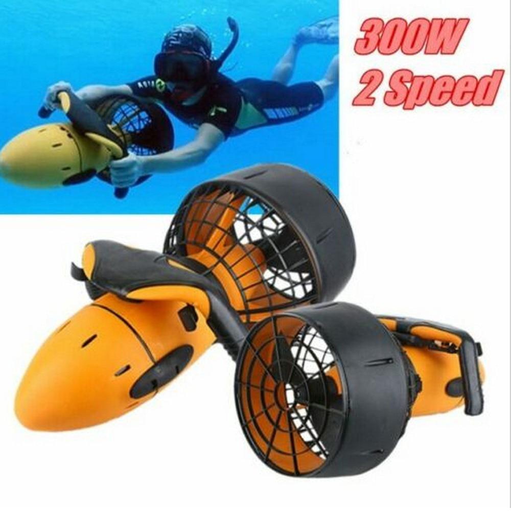 Ev ve Bahçe'ten Parçalar ve Aksesuarlar'de Sualtı Scooter dalış ekipmanları 300W elektrikli çift hızlı su pervane su havuzu yardımcı 4 5Km/saat mühür su geçirmez title=