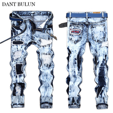 Mens Jeans Brand Retro Destroyed Ripped For Men Slim Fit Straight Denim Pants Patchwork Embroidered Hip Hop Hombre