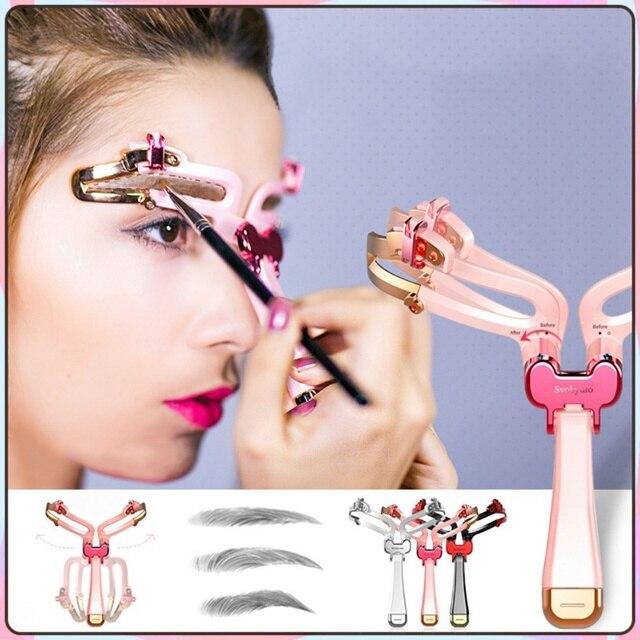 2020 New 3 In 1 Eyebrow Stencils Handheld Eyebrow Card Thrush Tools Eyebrow Shaping Tools Makeup Eye Maquiagem 4