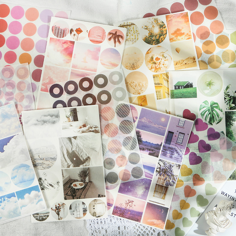 Mohamm 2 Sheets Paper Flat Stickers Color Photo Studio Ins Style Creative Stationary Scrapbooking Gift Girl School Supplies