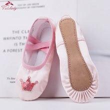 Alta qualidade meninas crianças sola completa sapatos de balé cetim pointe sapatos dança chinelos bailarina coroa lantejoulas decoração