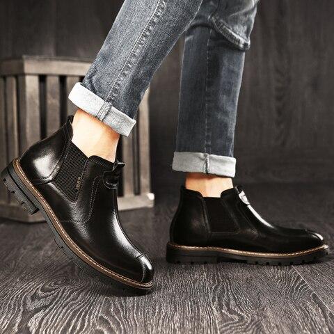 BIMUDUIYU Mens Chelsea Boots GenuineLeather Autumn Shoes Retro Ankle Boots For Men Casual Winter Quality Slip On Botas Man Multan