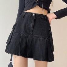 ZHISILAO-Falda plisada de Estilo Vintage para mujer, Minifalda vaquera de cintura alta con bolsillo negro, estilo veraniego, 2021