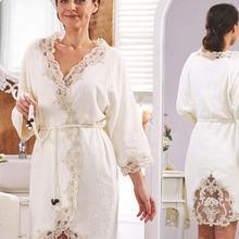 Elena Cream Ladies French lace Dowries Bride Bath Honeymoon Women Robe Set